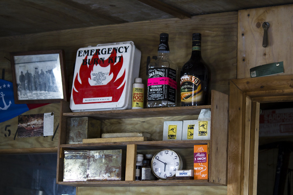 Inside the British hut at Dorian Bay