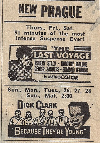 June 26 - 28, 1960 New Prague Theater Dick Clark Because They're Young