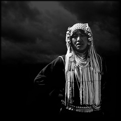 Another Day On Earth (Fusty Box) Tags: blackandwhite woman film mediumformat thailand beads decorative squareformat chiangmai iconic beaded contrasty hilltribe akha stronglight 500x500 rolleicordvb copyright2009timgravestock