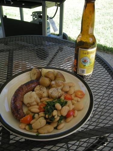 Sausage, Scallops & Sautéed Beans and Greens