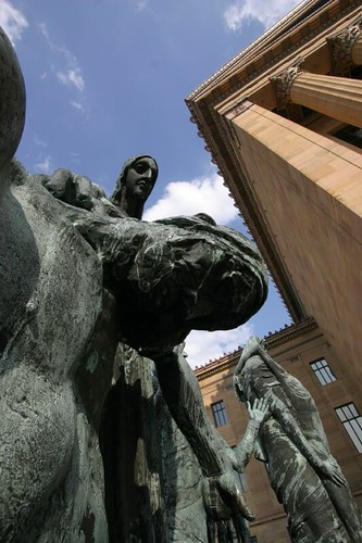 Statue in front of the Philadelphia Museum of Art, West Entrance.
