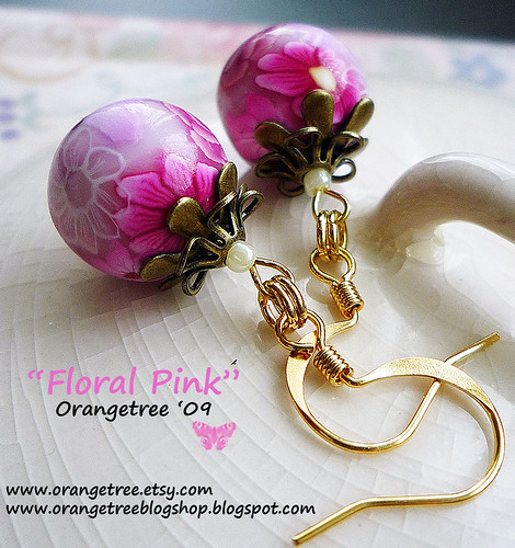 floral pink earrings