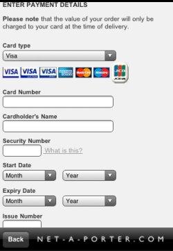 Net-a-Porter app payment screen