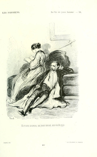 008-La vida del joven- Una novela nueva un amor joven una vieja pipa-dibujo de  Gavarni