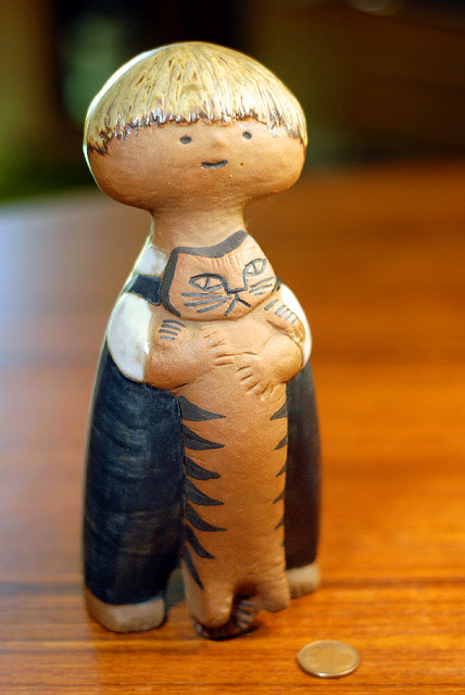 "Lisa Larson ""Pelle with Cat"" Pottery"