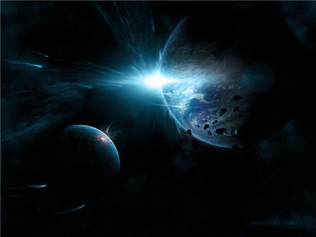 우주에서 바라본 일출 배경화면