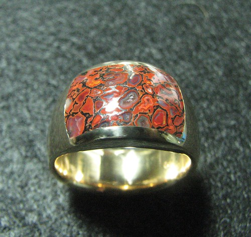 14k bright orange/red Gembone ring