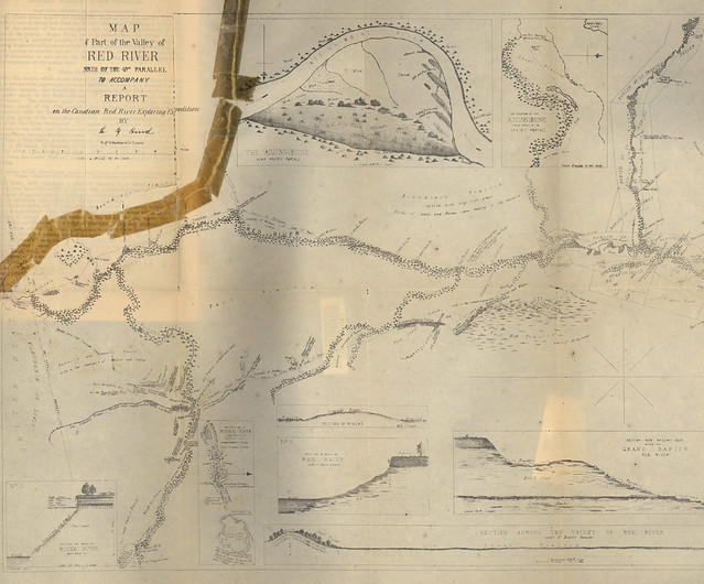 Map of part of the Valley of Red River North of the 49th Parallel to accompany a report on the Canadian Red River Exploring Expedition by HY Hind [South Sheet] (1858) by Manitoba Historical Maps