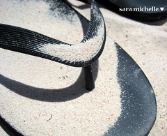 sand on my flip flop