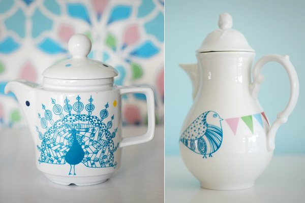 Ninainvorms Etsy Peacock Jug and Bird Teapot