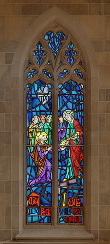 "Roman Catholic Cathedral of Saint Peter, in Belleville, Illinois, USA - stained glass window ""Upon this Rock I will build My Church"""