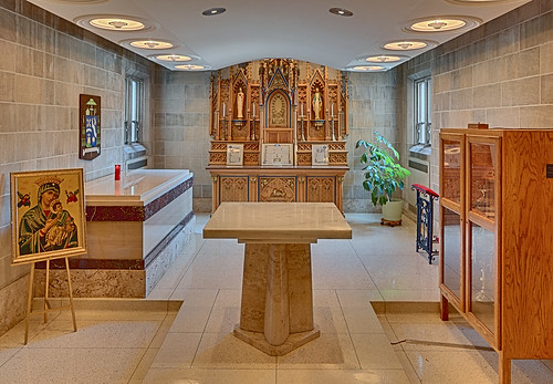 Roman Catholic Cathedral of Saint Peter, in Belleville, Illinois, USA - crypt of Bishop Zuroweste