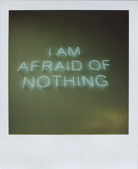 (Lizzie Staley) Tags: green writing catchycolors polaroid sx70 am neon 600 nothing afraid uwe i cmwdgreen