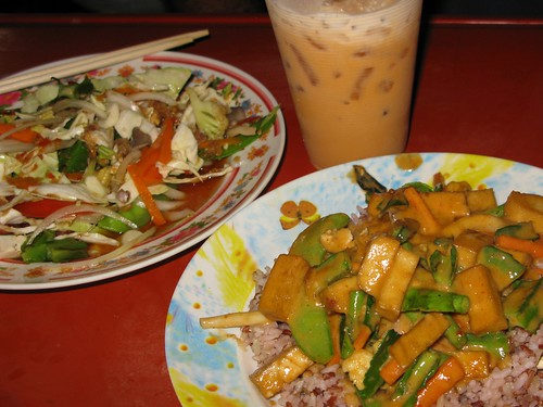 Mmmm...spicy coconut tofu and spicy salad on the street - Bangkok, Thailand