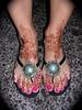Carolyn's feet with fancy flip-flops (HennaLounge) Tags: gulf pedicure henna mehndi khalijee