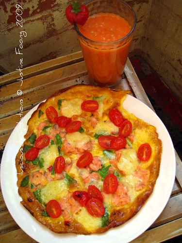 Smoked Salmon and Tomato Fritata with a Strawberry Smoothie - Saturday Lunch