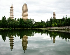 Three Pagodas of Chongshen Temple  (Melinda ^..^) Tags: china reflection heritage water architecture temple mirror chinese mel melinda yunnan dali pagodas   threepagodas   chongshen chanmelmel chongshentemple threepagodasofchongshentemple