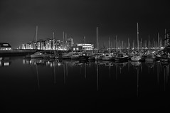 Swansea Marina at night [B&W] (funkysuite) Tags: bw white black reflection swansea marina boat nikon sa1 rework d90 dsc1467bw