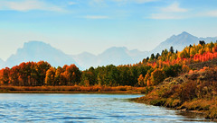 Autumn Smoke and Haze at the Bend (Jeff Clow) Tags: morning autumn fall haze raw searchthebest smoke explore forestfire wyoming frontpage grandtetonnationalpark oxbowbend 1exp jacksonholewyoming jeffrclow
