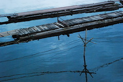 footpath for the raft village people (Pui's Gallery) Tags: trip blue urban lake reflection art composition thailand raft noise footpath 60mmf28 nikond80