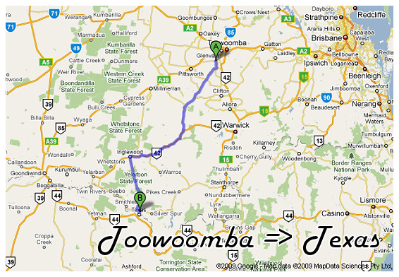 Toowoomba to Texas Map