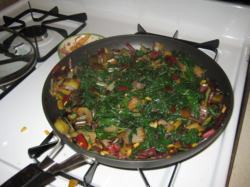 Rainbow chard with golden raisins and pine nuts