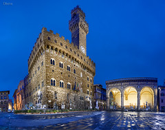 Signoria square,  palazzo vecchio, Florence, italy, tuscany, (dleiva) Tags: city italy sculpture tower art statue horizontal architecture night century outdoors florence europe view nocturnal time centre low towers statues palace rape historic nighttime cambio elements tuscany florencia di firenze geography piazza baroque della 16th palazzo sculptures palaces dei vecchio marka architectonic giambologna loggia signoria sabines pmar lanzi arnolfo arnolfos markaag