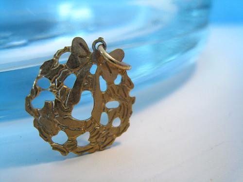 Gold Toned Wreath Pendant