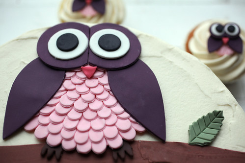 Olivia's owl cake close up