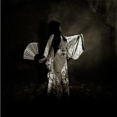 The world is eternally like a dream... (The Ghost of a Flea) Tags: dark fan dance shadows buddhist kanji geisha kimono scripture canoneosrebelxs 100d theghostofaflea