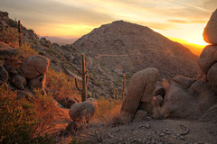 Almost Sunset at Pinnacle Peak, AZ in HDR (eoscatchlight) Tags: sunset arizona cactus hiking boulders scottsdale saguaro pinnaclepeak canonef28mmf18usm