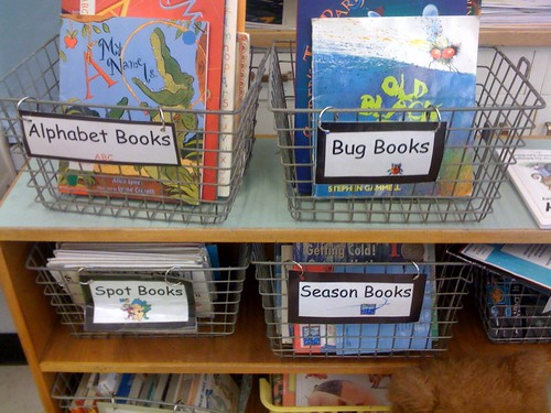 Locker room baskets as book bins
