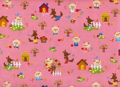 Three Little Pigs - Pink (This and That From Japan) Tags: pink house cute animal japan fairytale japanese wolf sewing fabric kawaii threelittlepigs 3littlepigs japanesefabric childrenstory japanimport