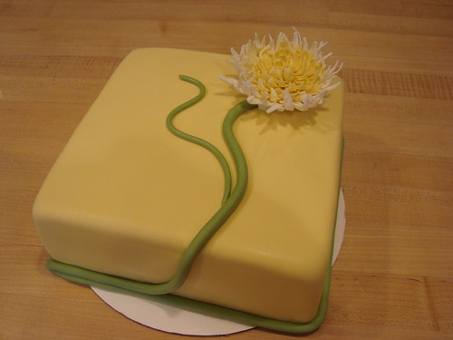 Yellow Square Cake w/Fondant Mum