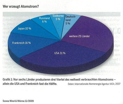 Von 31 Atomstromstaaten produzieren 6 ca. 75% des Atomstroms