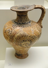 0618-20091003_Crete-Heraklion Museum-Clay Jug with floral style decoration-New Palace Period 1500-1450 BC (Nick Kaye) Tags: museum europe crete heraklion minoan archaeologicalmuseum
