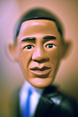 Up Close And Personal With US President Barack Obama (Komatoes) Tags: portrait closeup 50mm us crossprocessed nikon bokeh f14 g president obama afs barackobama barack dcr250 raynox d40