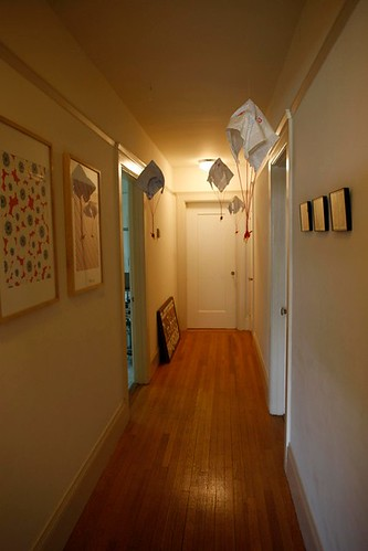 Hallway with parachuting giraffes