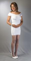 Virtually Virginal! (kaceycd) Tags: crossdress tg tgirl lycra spandex minidress pantyhose stockings nylons reinforcedheeltoe rht pumps stilettopumps sexypumps stilettos s garterbelt suspenderbelt