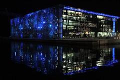 Mucem : l'éclat de la nuit...    (Explore 20170216) (chriskatsie) Tags: city night light reflection lumiere building marseille mer sea france noche luz
