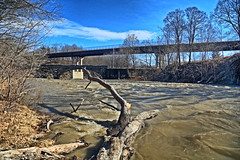 Muddy Normanskill Near  High Water (hbickel) Tags: normanskill bridge trees muddy waves sky water highdynamicrange hdr photoaday pad canont6i canon