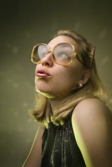 Wow,all these lights (Csheemoney) Tags: girl vintage glasses lips retro blond pinup