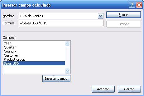 formula de campo calculado pivot table o tabla dinamica Microsoft Office Excel 2007