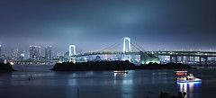 (songallery) Tags: city longexposure bridge blue light sky panorama weather japan architecture night landscape geotagged tokyo evening landscapes boat nikon cityscape cloudy widescreen wide landmark stitching daiba   d3x pce45mmf28dmicro