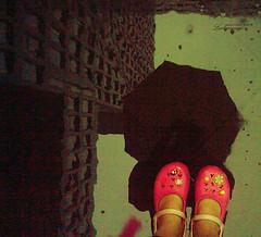 I love walking in the rain, 'cause then no-one knows I'm crying. (ShanLuPhoto) Tags: pink reflection rain umbrella gloomy weekend sunday gray raindrop depressing crocs loolooimage