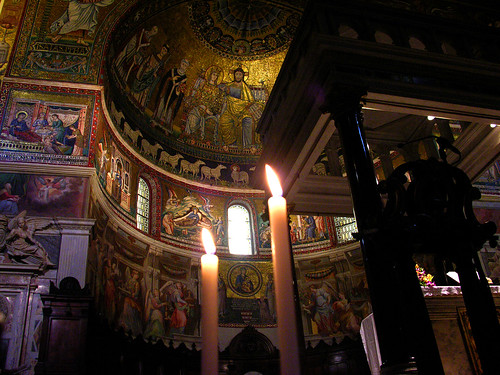 Apse in Santa Maria in Trastevere, with candles