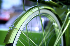 bike + truck (ginnerobot) Tags: light cute green bike bicycle wheel truck vintage 50mm shiny bokeh limegreen spokes 1960s carshow bicyclewheel