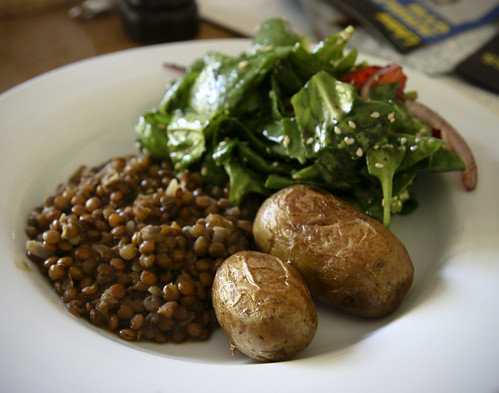 Dinner: Lentils and Potatoes with Spinach and Strawberry Salad