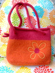"""Pinkgerine"" SOLD (Momika21) Tags: wool felted bag sweater hand recycled handmade knit handknit felt made purse etsy handbag reclaimed fulled momika"