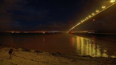 Osgoldcross and the Humber Bridge (David Wilby) Tags: uk bridge blue light england sky cloud mist black reflection yellow architecture night glow tripod estuary hdr highdynamicrange humberbridge humber manfrotto lighttrail humberside 3xp eastriding 3ex 3exp 460mg manfrotto190xprob 190xprob manfrotto460mg 190xprob460mg osgoldcross